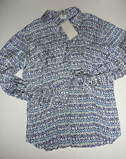 Gerard Darel Long Sleeve Crinkled Silk Blue Ikat Print L/S Blouse 36 NWT