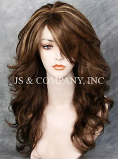 Glamorous New Big Curly Wavy Brown Blonde Mix Wig w Bangs BL 8-27-613