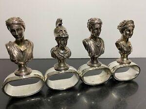4pc Set HANS TURNWALD Greek Roman God Portrait Bust Napkin Ring Holders