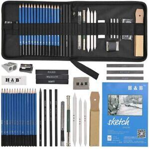 35tlg. Skizzierstifte Set Bleistifte Zeichnen Skizzieren Kohlestift Zeichenstift