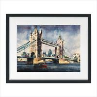 Tower Bridge London Watercolor Painting Print Cityscape Sarfraz Musawir