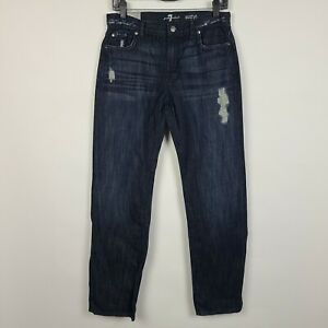 NWT 7 For All Mankind Austyn Relaxed Straight Distressed Boys Dark Jeans Size 16