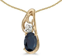 14k Yellow Gold Oval Sapphire and Diamond Pendant (no chain) (CM-P2590X-09)