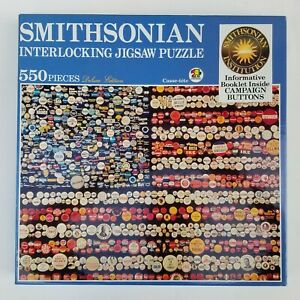 Smithsonian 1989 Jigsaw Puzzle CAMPAIGN BUTTONS 550 Pieces American Flag 18 x 24