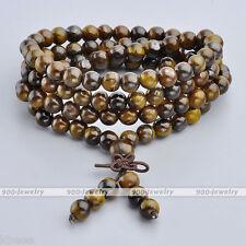 Natural Tiger Eye 6mm Gemstone Beads Multi-layer Buddha Bracelet Necklace  26''