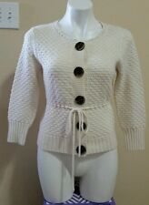 The Limited Women's Off White Cream Belted Knit Cardigan Sweater Size M