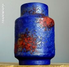Vintage 60-70's VAN DAALEN Blue Orange Vase West German Pottery Art Fat Lava Era