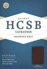 HOLMAN HCSB ULTRATHIN REFERENCE BIBLE BROWN GENUINE COWHIDE LEATHER NEW