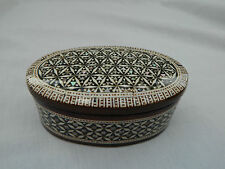 "Egyptian Inlaid Mother of Pearl Wooden Oval Handmade Jewelry Box 4.5"" # 005"