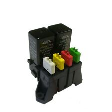 ATC 4 Way Fuse With Dual Relay Panel Block Holder With Buss Bar and Terminals