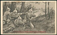 Preußen, Feld-Postkarte mit Bild Überaschung einer feindl. Patroille,