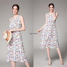 Vintage Women Summer Empire Waist A Line Slim Sundress Casual Maxi Dress White