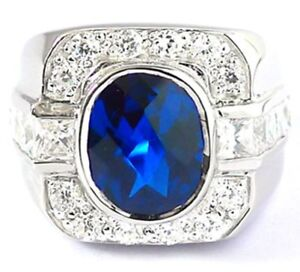 BLUE SAPPHIRE SQUARE DIAMOND RHODIUM PLATED STERLING 925 SILVER RING