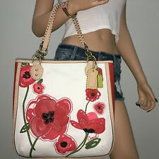 NWT COACH 22479 RARE LIMITED EDITION POPPY RED FLORAL APPLIQUE TOTE  BAG PURSE
