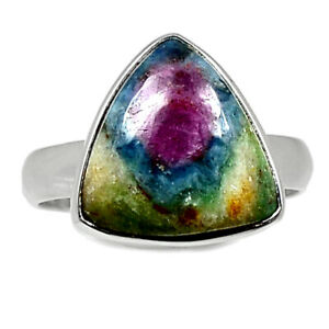 Ruby In Fuchsite - India 925 Sterling Silver Ring Jewelry s.6.5 BR97903