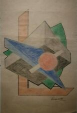 Kassak Lajos signed drawing with poem on verso.Hungarian modernism,dada.