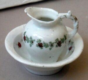 Antique Toy Miniature Pitcher & Bowl Set Porcelain Doll Play Size P1871