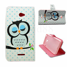Owl Leather Stand Pouch Wallet Phone Protective Case Cover For Sony Xperia E4