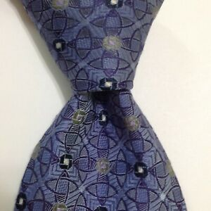 ROBERT TALBOTT Best of Class Men's Silk Necktie Designer Geometric Blue/Gray GUC