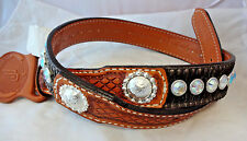 Double J Saddlery Belt Western Hair On Leather Rhinestones Crystals Conchos 30