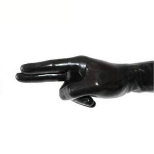 100% Latex Cheap Black wrist five-finger gloves S-XL 0.4mm