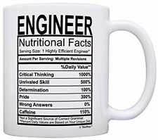 Ceramic Coffee Mug 11 Ounce White Cup for Engineers Novelty Gift for Engineer