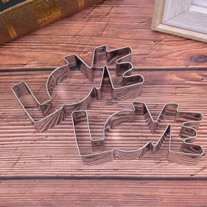1PC Stainless Steel Cookie Cutter LOVE Letter Shape Forms For Biscuit Mold  S-