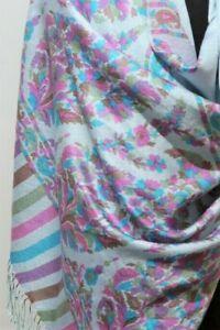 **66 x 202cm Oblong Hand Woven Printed Pale Blue, Purple & Brown Wool/Silk Scarf