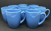 Set of 8 Vintage Corelle Blue Stoneware Coffee Cups Mugs Excellent Condition