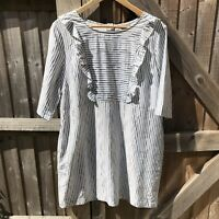 Oliver Bonas Grey & White Aoki Striped Tunic Frill Dress 16 Pockets (Flaw)