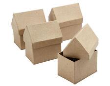 4 House Shaped 10.5cm Paper Mache Boxes to Decorate | Papier Mache Boxes