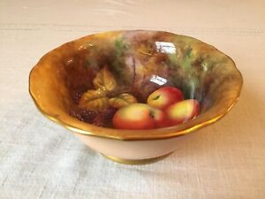 Royal Worcester Bowl Signed By H Price With Fruit Painting - Lovely Condition