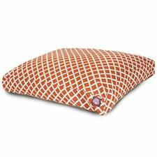 Burnt Orange Bamboo Extra Large Rectangle Indoor Outdoor Pet Dog Bed With Rem.