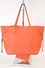 Louis Vuitton orange epi leather logo 2pc pouch tote handbag purse NEW $2260