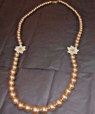 Faux Pearl and Gold Tone Necklace reversible seed bead flowers Christmas Gift