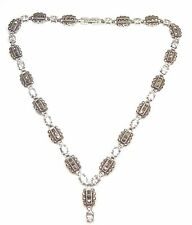 Art Deco Style Necklace Chain Marcasite & Gem Set 925 Sterling Silver 53.9g 17""