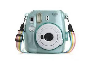 Hard Glitter Case for Fuji Instax Mini 8/9 Ice Blue + Strap