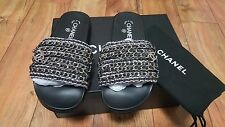 AUTHENTIC CHANEL Cuba Tropiconic Black Mules Silver CC Chain Sandals Flats 39