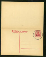 Germany Stamps Michel # P-5 postal card with overprint Reply attached