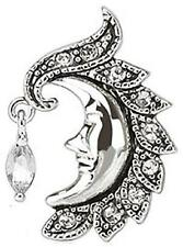 Belly Button Ring Navel Crescent Moon Face with Gem Dangle Top Down 316L Surg...
