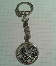 "TIBETAN SILVER KEYRING""STEAM PUNK WATCH PARTS STYLE""(2.5CM)ON KEYRING=(8.5CM )"