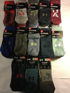 Under Armour Phenom Crew 3 Pack Green Red Gray Camouflage Socks New