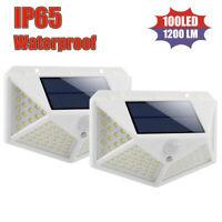 100 LED Solar Power Motion Sensor Wall Lights Outdoor Garden Yard Security Lamp