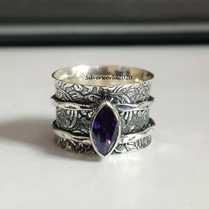 Amethyst Spinner Ring 925 Sterling Silver Plated Handmade Ring Size 7.5 P204