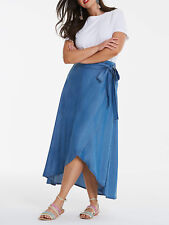 NEW ex NEW Simpy Be BLUE Lyocell Denim Floaty Wrap Maxi Skirt 18 20 22 24 28 30