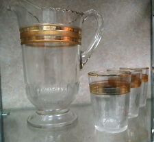 1890 Greentown glass water pitcher and 3 tumblers / BAR GOODS knurled in gold