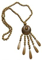 Kalea Hand Crafted Wooden Bohemian Ethnic Pendant Necklace Wood Pendant Jewelry
