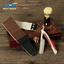 VINTAGE BARBER SALON STRAIGHT CUT THROAT SHAVING RAZOR Gift Set 4Pcs Luxury Kit