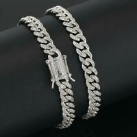 14K/White Gold Plated CZ Iced Miami Cuban Link Chain Bracelet for Men 8mm