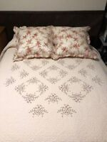 "Cream Embroidered Quilt & Shams from Neiman Marcus Gently Used 104"" x 92"""